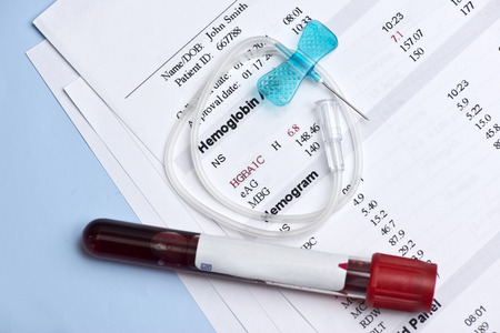 drop of blood: Hematology A1C report with butterfly catheter and blood collection tube.