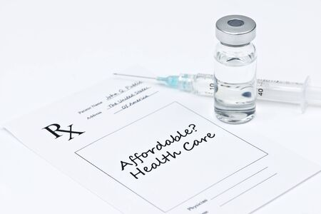 affordable: Affordable health care prescription with syringe and vial.
