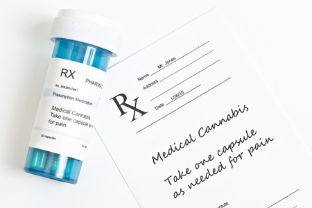 Hypothetical prescription and pharmacy bottle for medical marijuana. photo