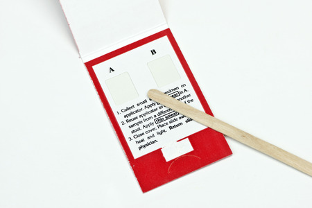 stool test: Fecall sample test kit to determine the presence of blood in the stool.