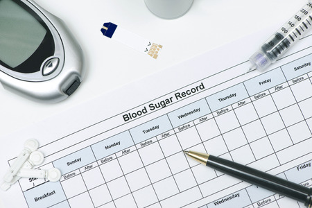diabetes meter kit: Blood sugar record with insulin pen, glucometer, and lancets.