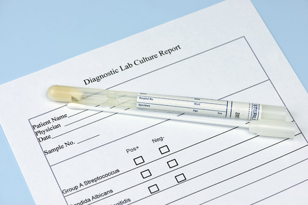 Diagnostic culture swab and holder with lab culture report.