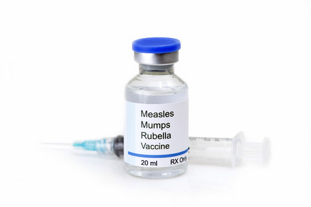 rubella: Measles, mumps, rubella, virus vaccine and syringe on white background. Stock Photo