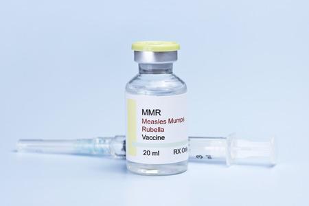 Measles, mumps, rubella, virus vaccine and syringe on blue background. photo