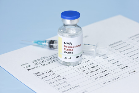 Measles, mumps, rubella virus vaccine and patient immunization record.   Label and record are fictitious, and any resemblance to any actual product is purely coincidental.