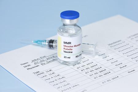 vacuna: El sarampi�n, las paperas, la vacuna contra el virus de la rub�ola y el registro de vacunaci�n del paciente. Etiqueta y registro son ficticios y cualquier parecido con cualquier producto real es mera coincidencia.