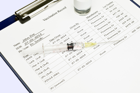 immunize: Vaccination record with syringe and medication vial.