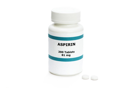 resemblance: Aspirin bottle with two pills on white.  Label is fictitious, and any resemblance to any actual product is purely coincidental. Stock Photo
