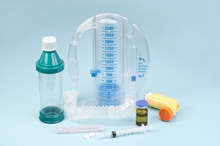 incentive: Respiratory care equipment with incentive spirometer and other supplies.