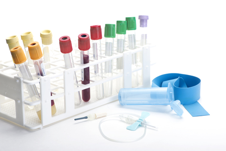 test result: Blood collection tubes in tube rack with blue butterfly catheter.