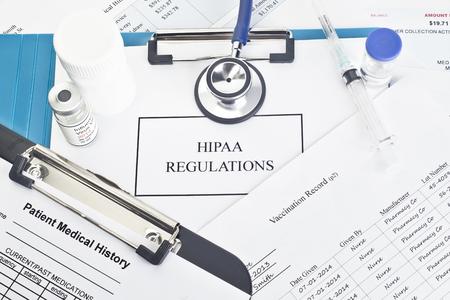 患者のドキュメントと Hipaa 規制マニュアル。 すべてのラベルまたはドキュメントは、架空のものです。 名前、シリアル番号、およびまたは、日付 写真素材