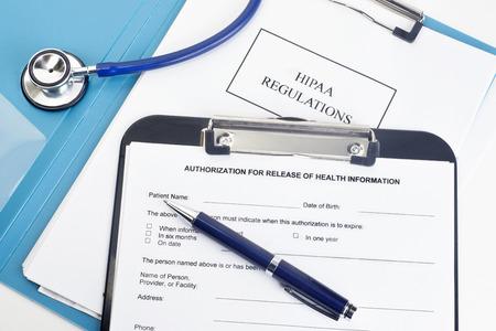 libération des patients de la forme d'information avec HIPAA règlements documents. Les noms, les numéros de série, et / ou les dates, sont aléatoires et toute ressemblance avec des produits réels est purement cooincidental. Banque d'images