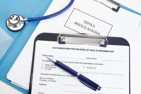 Patient release of information form with HIPAA regulations documents. Names, serial numbers, andor dates, are random and any resemblance to actual products is purely cooincidental.