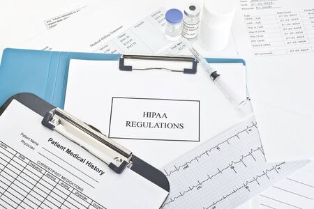 purely: Hipaa regulations manual with patient documents.  All labels andor documents are fictitious.  Names, serial numbers, andor dates, are random and any resemblance to actual products is purely cooincidental.