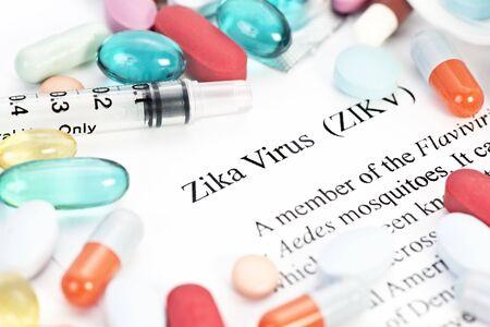 needle syringe infection: Zika virus concept photo with syringes and medication.