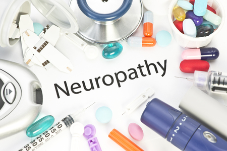 medical supplies: Neuropathy concept photo with medical supplies.