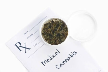 fictitious: Medical marijuana in paper cup with prescription.  Document is fictitious. Stock Photo