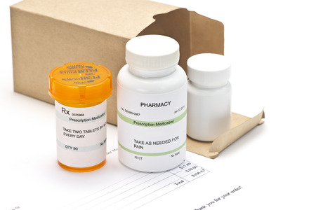 mail order: Mail order medications with invoice.  Serial numbers, dates and completely random numbers, labels are ficitious and created by the photographer.
