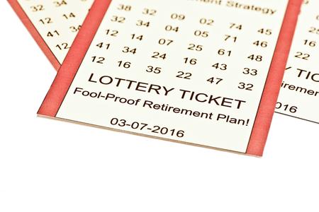 Lotería plan de retiro de entradas en el fondo blanco.