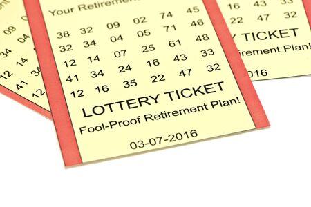 loteria: Lotería plan de retiro de entradas en el fondo blanco. Foto de archivo