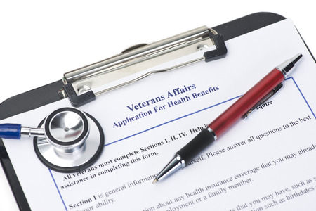 long term care services: Hypothetical veteran application for health benefits.  Document is totally fictitious and created by photographer.