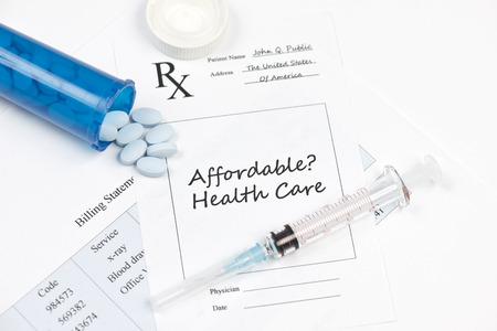 affordable: Affordable healthcare prescription and billing statement.  Documents created by photographer.
