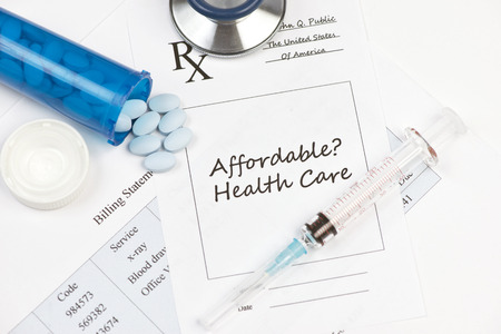 billing: Affordable healthcare prescription and billing statement.  Documents created by photographer.