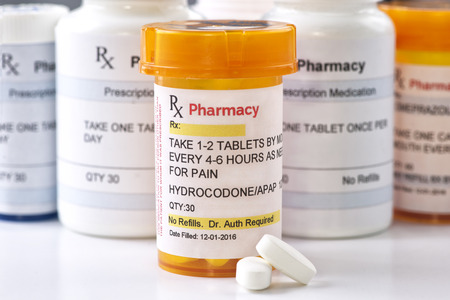 Hydrocodone prescription bottle.  Hydrocodone is a generic medication name and label was created by photographer.
