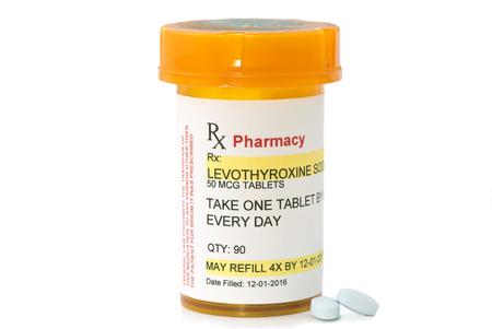 Levothyroxine Sodium prescription bottle.  Levothyroxine is a generic medication name and label was created by photographer. Zdjęcie Seryjne