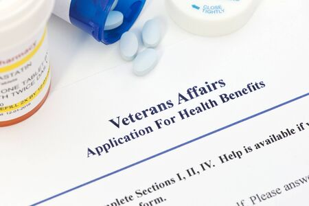 Application for Veterans Benefits.  Label and document created by photographer.