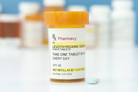 Levothyroxine thyroid medication prescription. Stock Photo