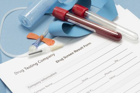 Concept photo with drug testing results form and blood sample with collection supplies.