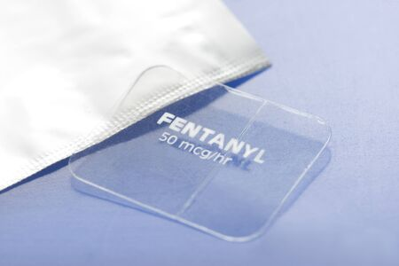 Fentanyl transdermal 50mcg/hr timed release skin patch and foil wrapper.