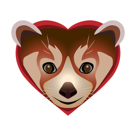 Muzzle cute little red cat-bear or panda inscribed in the heart. Cute animal as a symbol of romantic relationships in a pair of lovers.