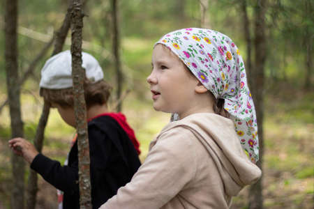 Children discover the forest while hiking along the summer paths of green woods.