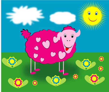 bleating: Pink sheep with hearts pattern Stock Photo