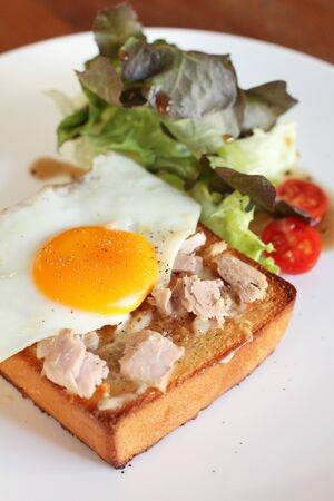 tuna mayo: Plate of breakfast with fried egg, tuna, vegetables and toast