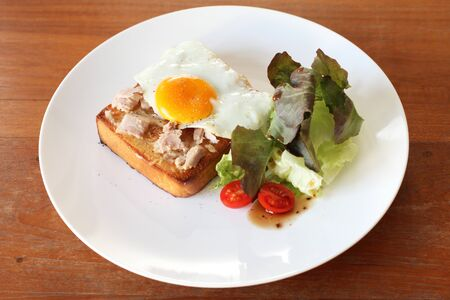 english oak: Plate of breakfast with fried egg, tuna, vegetables and toast