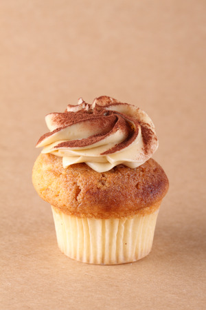 Homemade Cupcake with swirl frosting Stock Photo