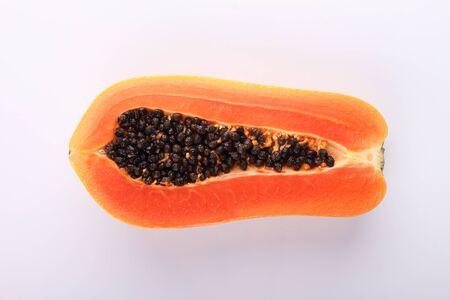 cranny: chop of papaya on white background Stock Photo