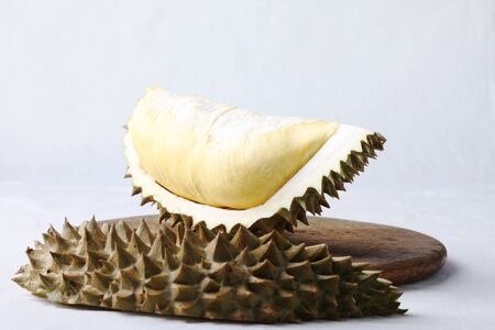 pulp: piece of durian,southeast asia summer fruit, reveal its pulp