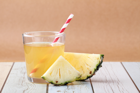 pineapple: sliced pineapple with a glass of pineapple juice Stock Photo