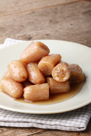 sweet and savoury: banana in syrup,Thai style sweet dessert