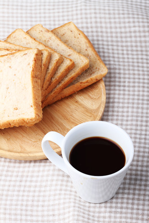 whole wheat bread: black coffee with whole wheat bread for breakfast Stock Photo