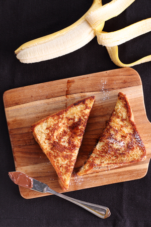 whole wheat toast: chocolate banana french toast with whole wheat bread, top view