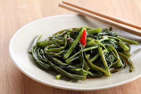 Stir fried of Water Spinach, Vegetarian thai food