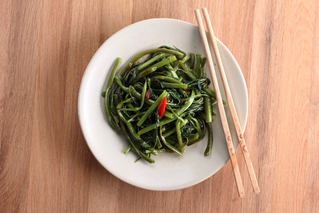 chinese spinach: Stir fried of Water Spinach, Vegetarian thai food