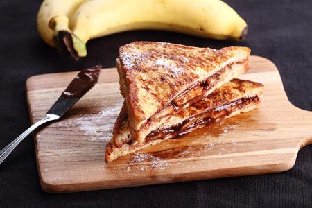 whole wheat bread: chocolate banana french toast with whole wheat bread Stock Photo
