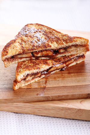 whole wheat toast: chocolate banana french toast with whole wheat bread Stock Photo