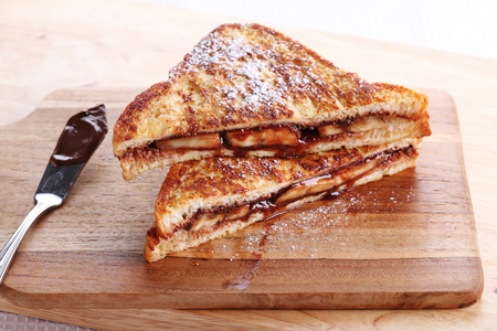 banana: chocolate banana french toast with whole wheat bread Stock Photo